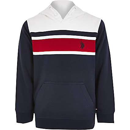 Boys U.S. Polo Assn. navy blocked hoodie