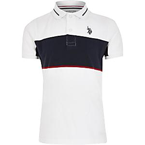 Boys U.S. Polo Assn. white blocked polo shirt
