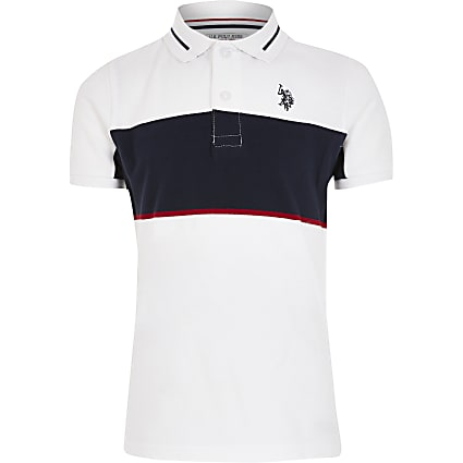 Boys U.S. Polo Assn. white blocked polo shirt