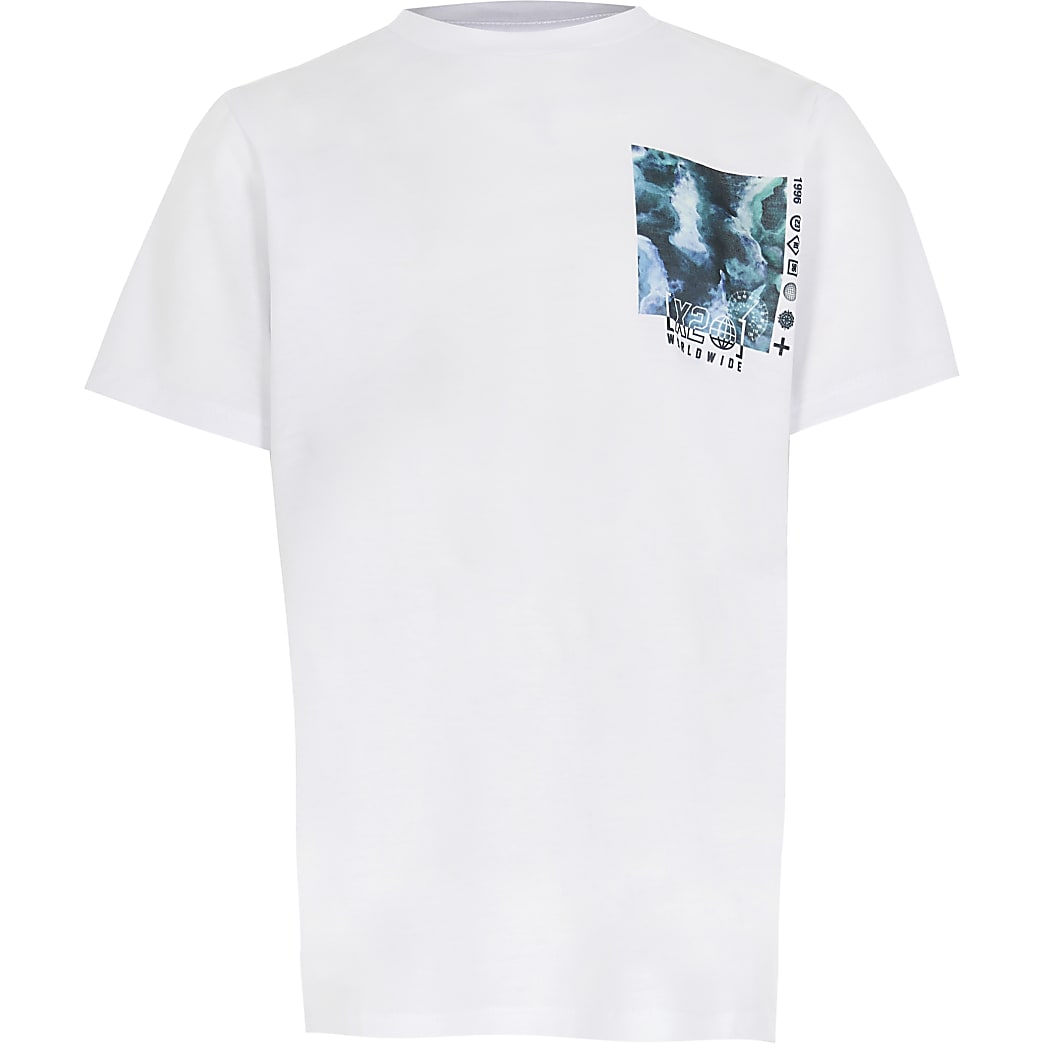 Boys white  tie dye box print t-shirt