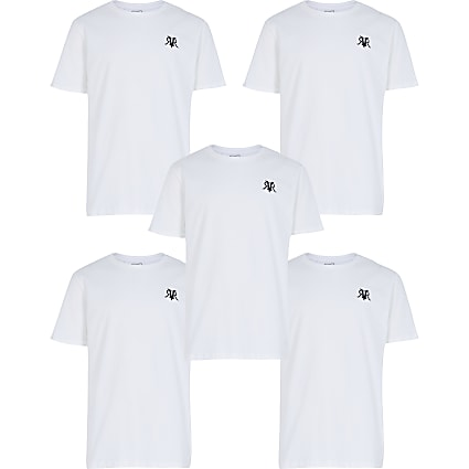 Boys white 5 pack t-shirt