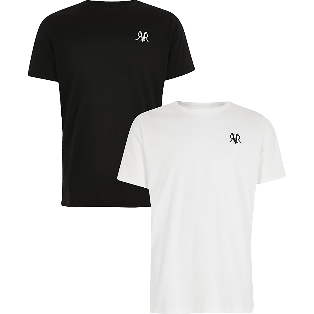 Boys white and black RVR T-shirt 2 pack