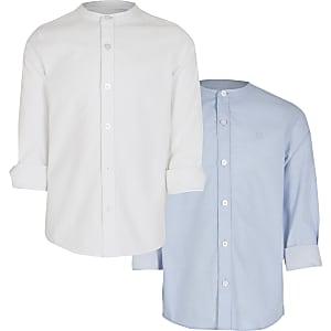 Wit en blauw overhemd zonder kraag voor jongens set van 2
