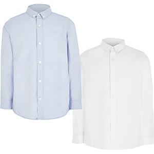 Weißes und blaues Hemd aus Köper für Jungen im 2er-Pack
