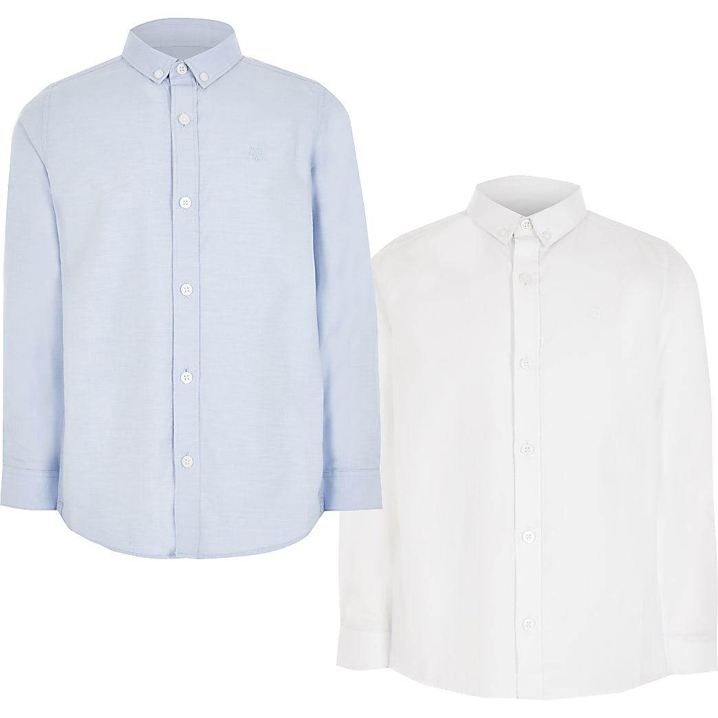 Set van 2 witte en blauwe overhemden van keperstof voor jongens