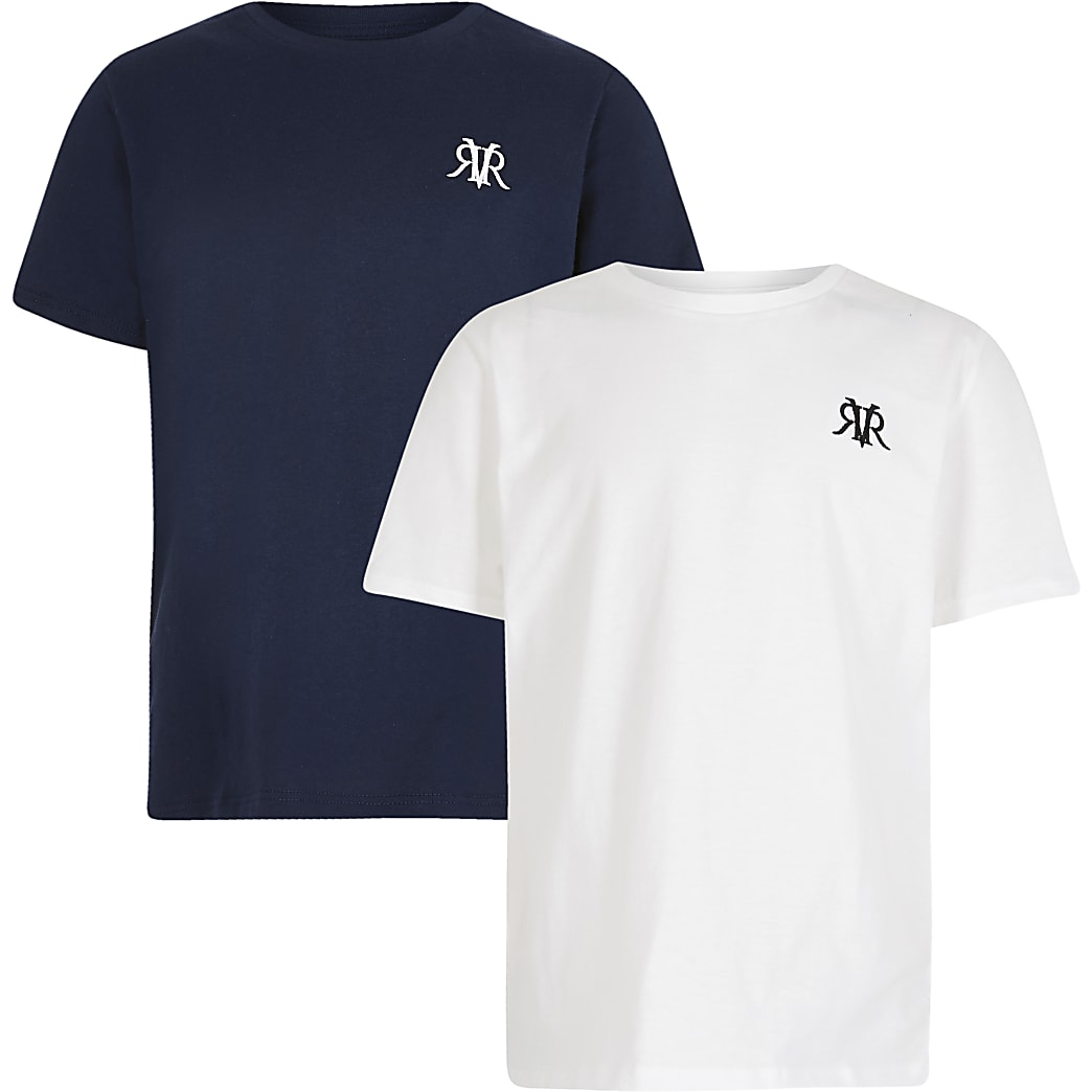 Boys white and navy t-shirts 2 pack