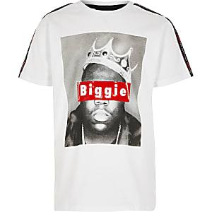 Wit T-shirt met biggie-fotoprint voor jongens