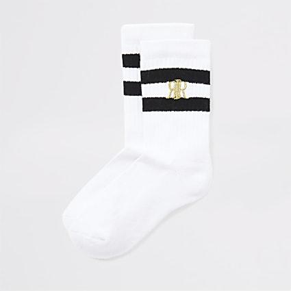 Boys white black stripe socks 2 pack