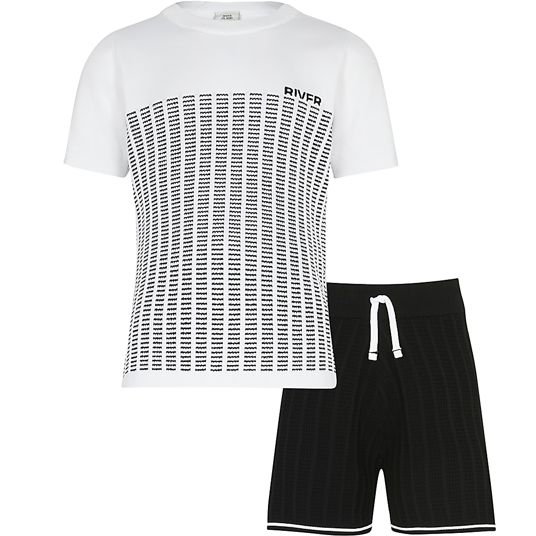Boys white block stripe knit outfit