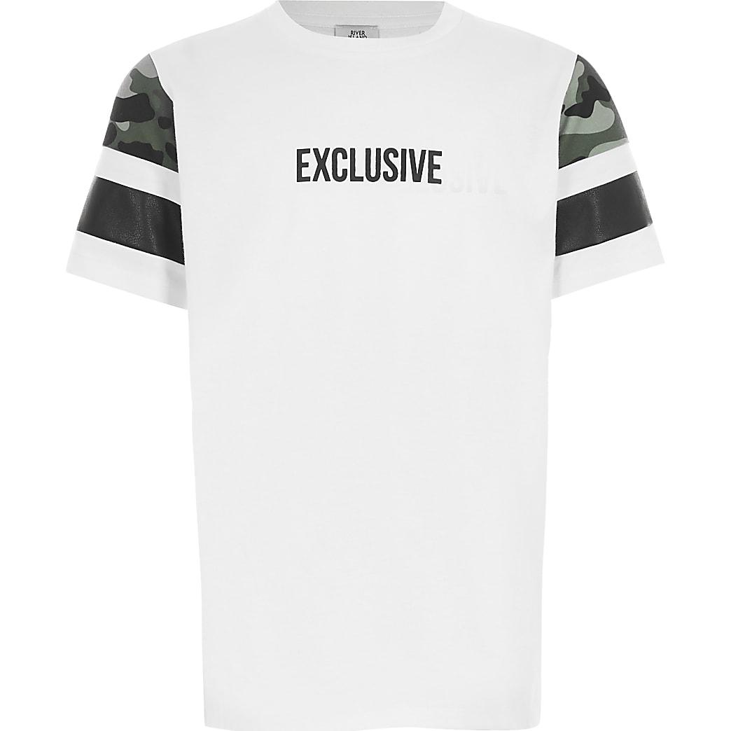 Mini - Wit T-shirt met kleurvlakken en 'Exclusive'-tekst voor jongens