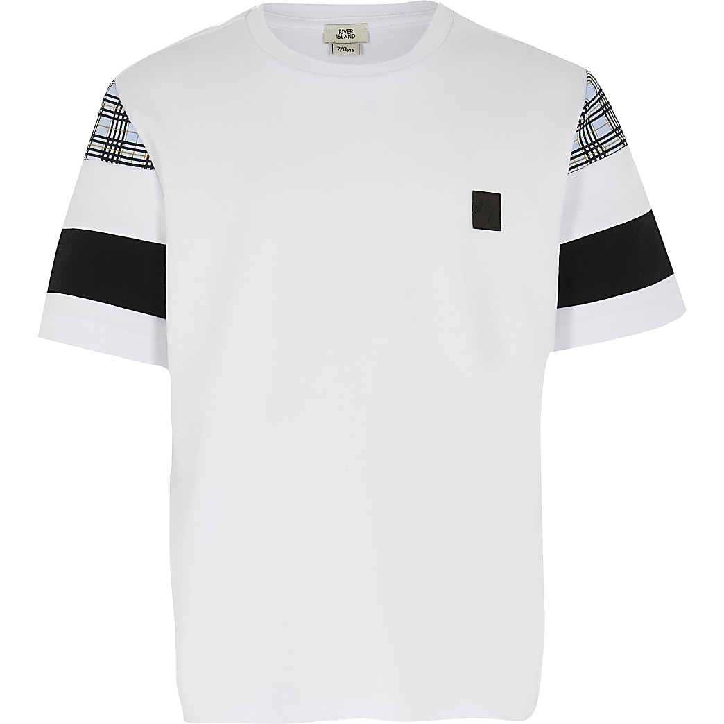 Boys white blocked check sleeve t-shirt