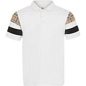 Weißes Polohemd in Blockfarben für Jungen