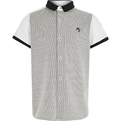 Boys white blocked short sleeve shirt