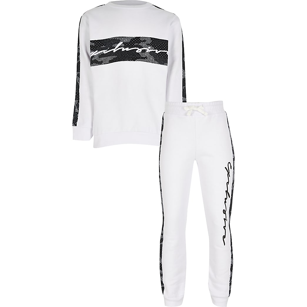 Boys white camo taped tracksuit