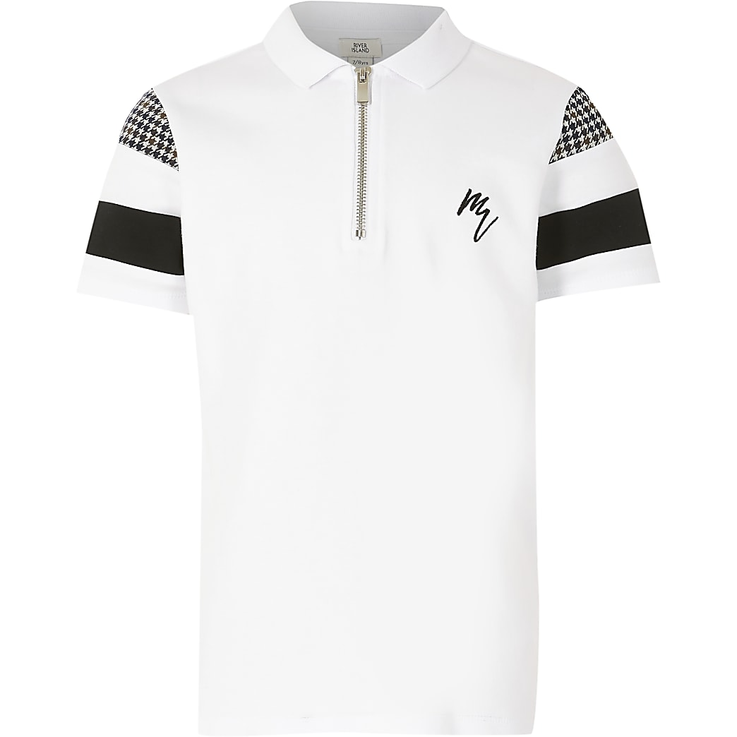 Boys white check block polo shirt