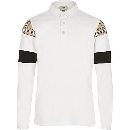 Boys white check blocked polo shirt