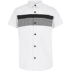 Boys white check blocked poplin shirt