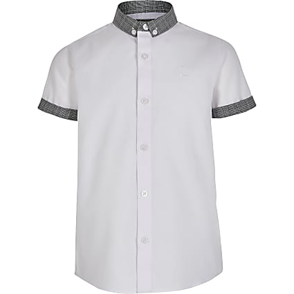 Boys white check button-down collar shirt