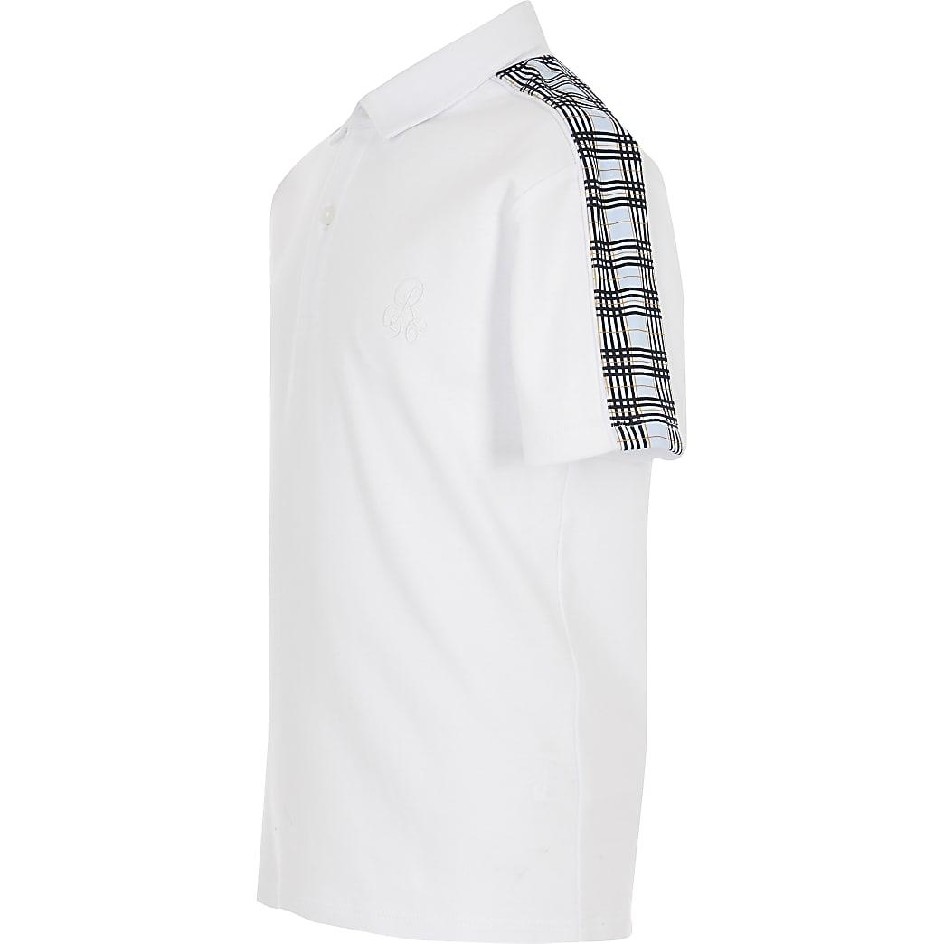 Boys white check polo shirt