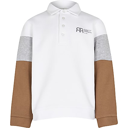 Boys white colour block rugby sweatshirt