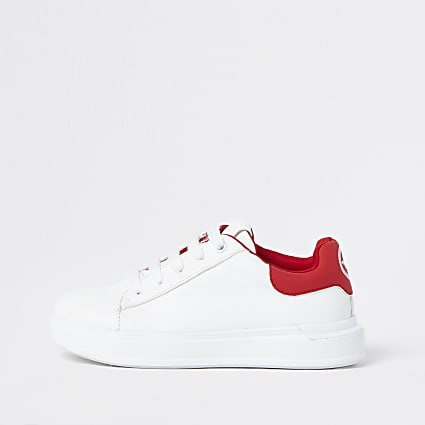 Boys white colour block trainers