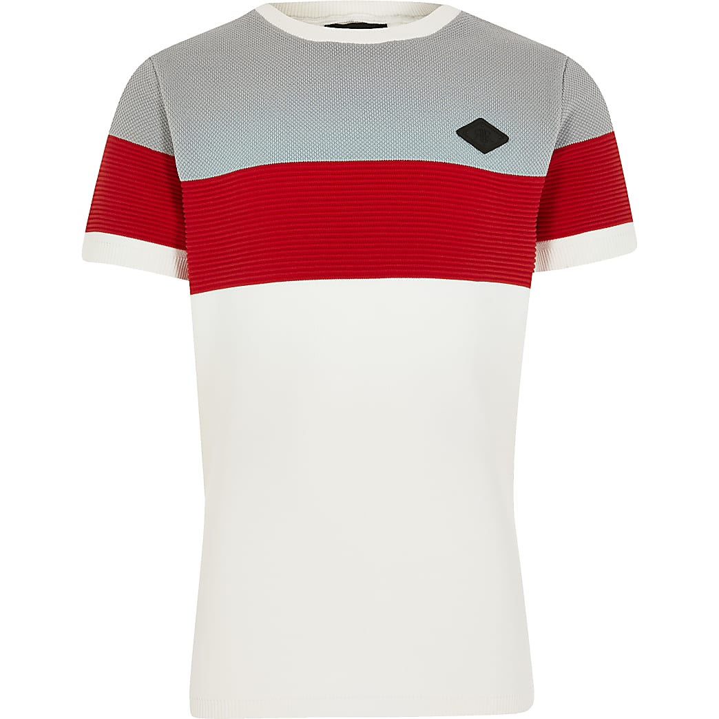 Boys white colour blocked knitted t-shirt