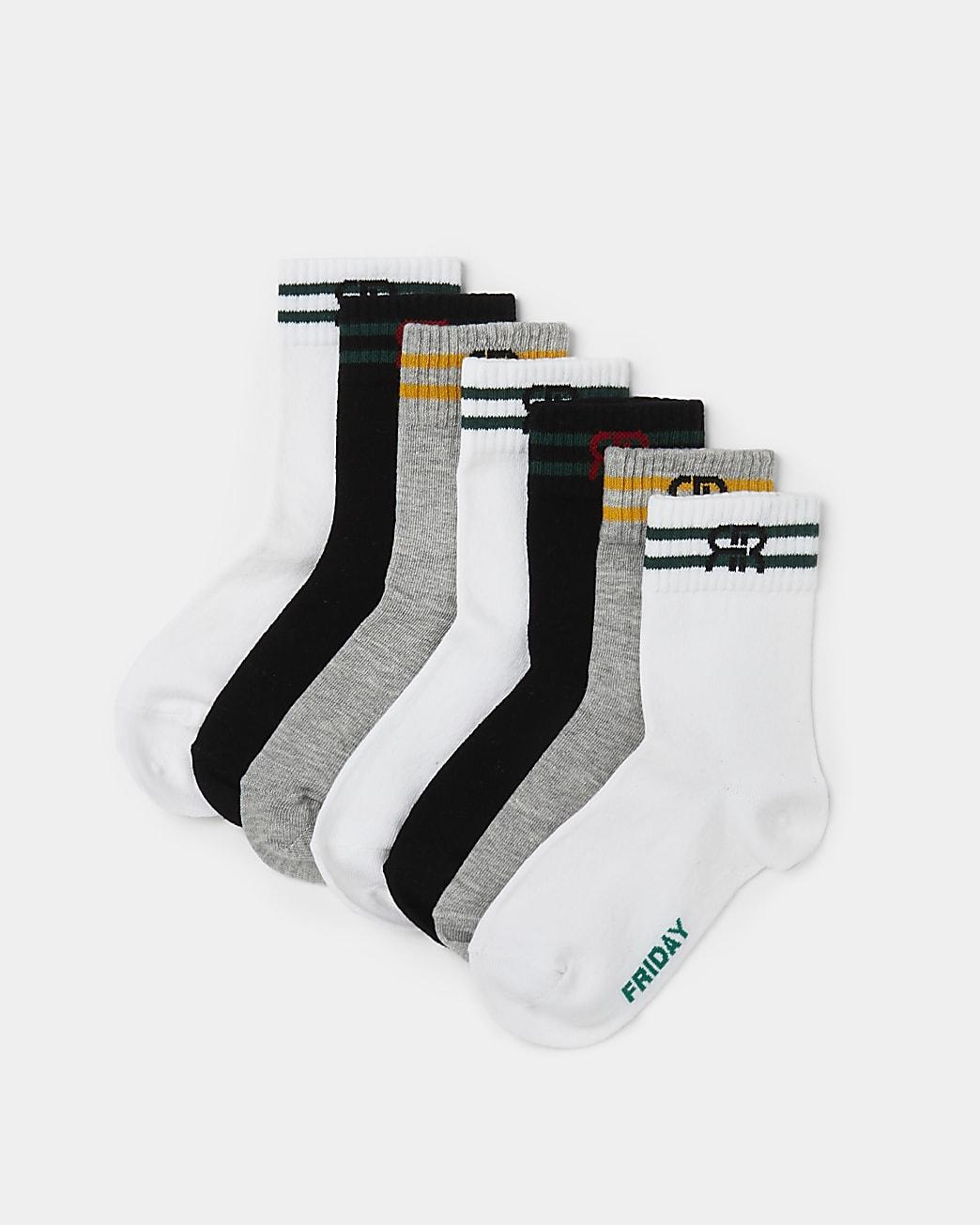 Boys white days of the week socks 7 pack