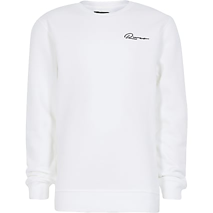 Boys white embroidered sweatshirt