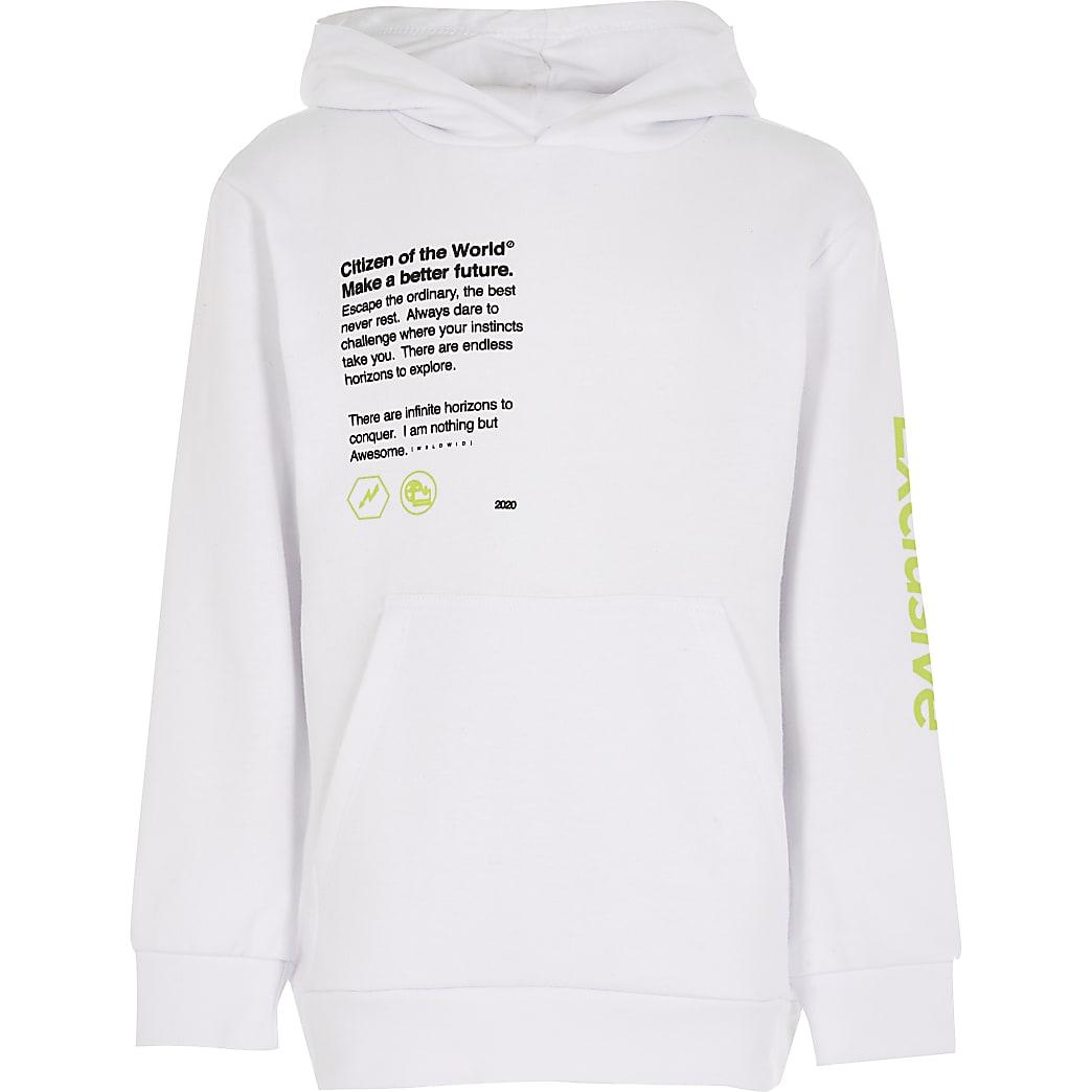 Boys white 'Exclusive' back print hoodie