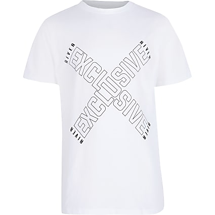 Boys white 'Exclusive' print t-shirt