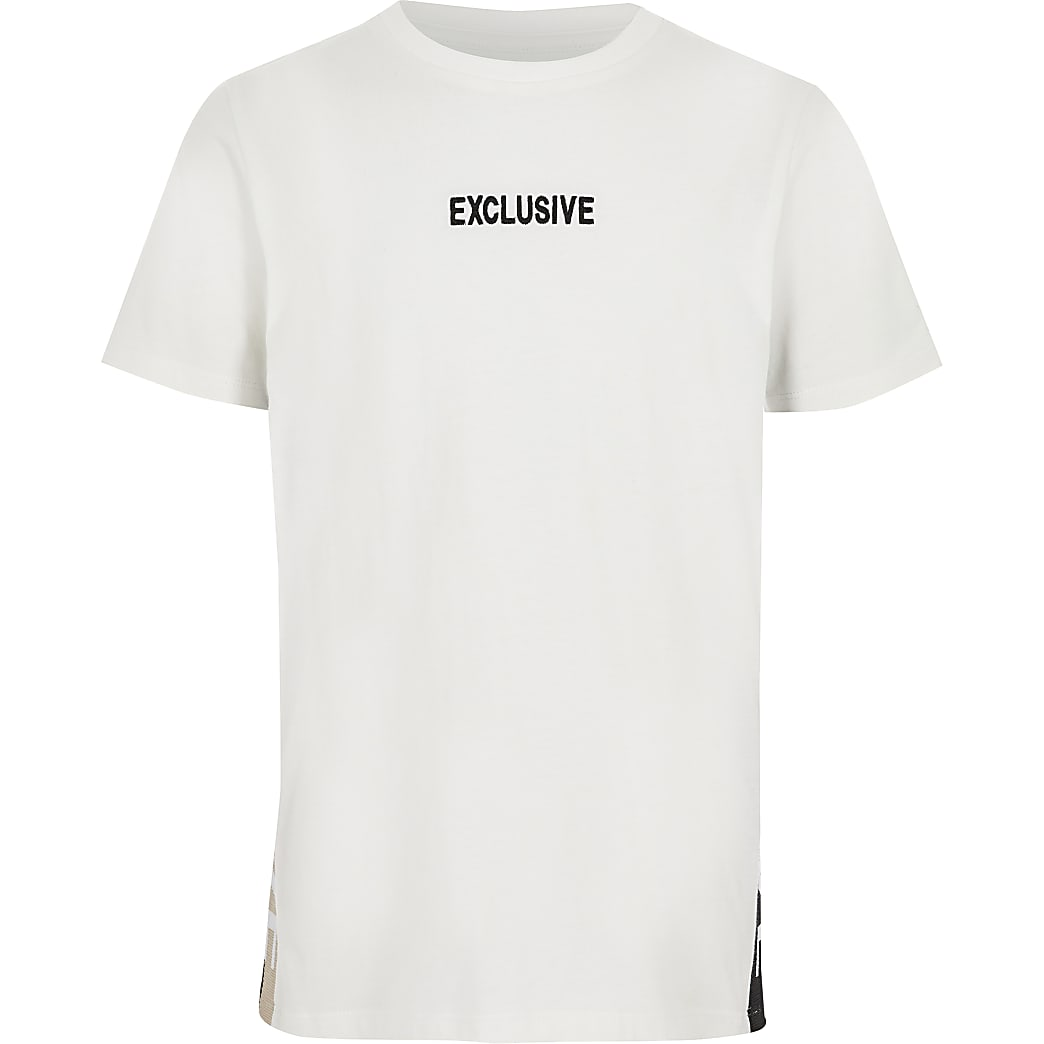 Boys white 'Exclusive' tape T-shirt