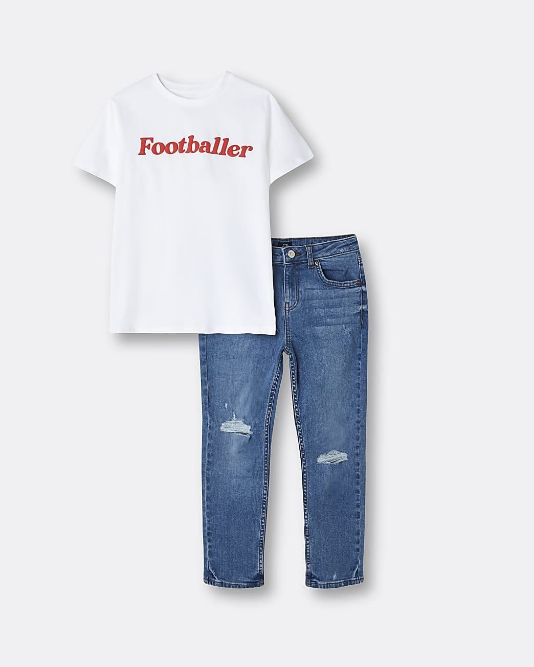 Boys white 'footballer' t-shirt and jeans set