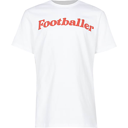 Boys white footballer t-shirt