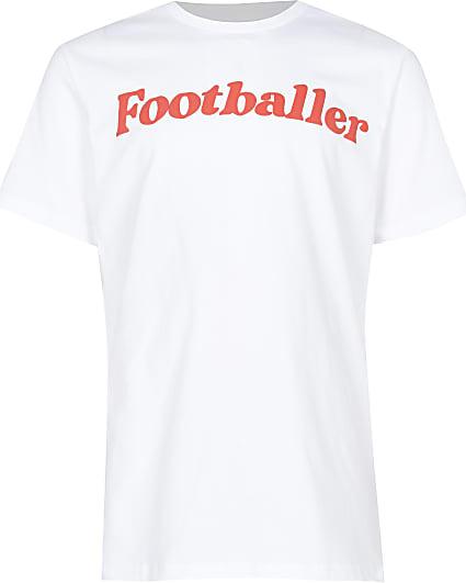 Boys white footballer t-shirt