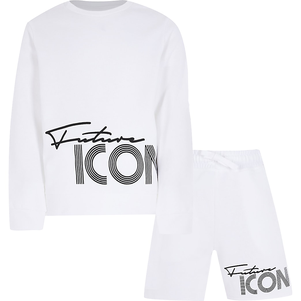 Boys white future icon shorts outfit