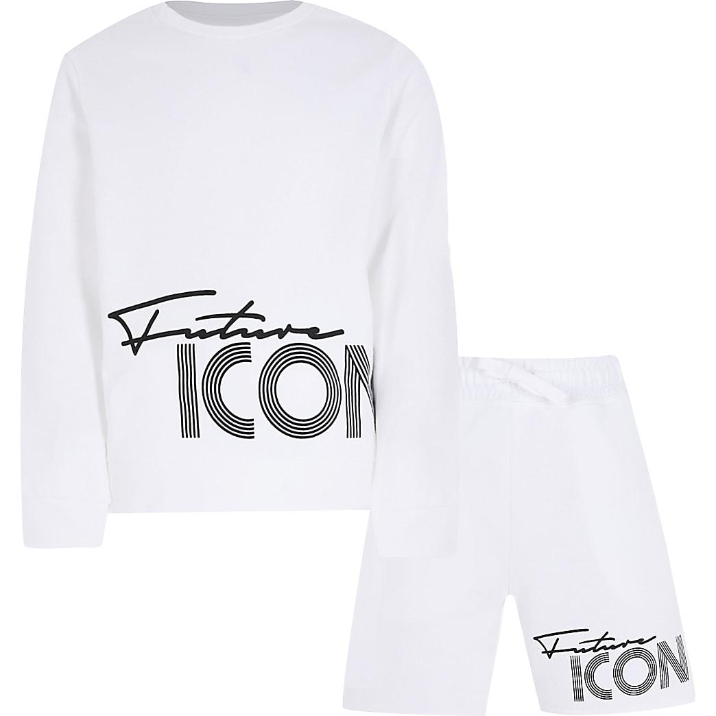 Boys white future icon shorts outfit