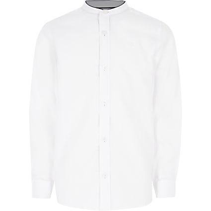 Boys white grandad collar long sleeve shirt