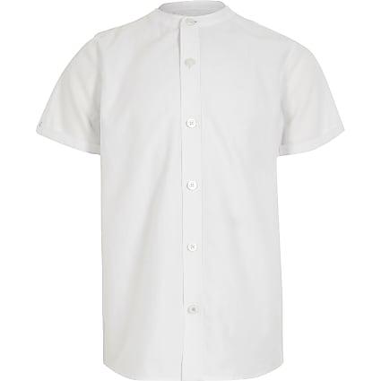 Boys white grandad collar twill shirt