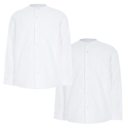 Boys white grandad collar twill shirts 2 pack