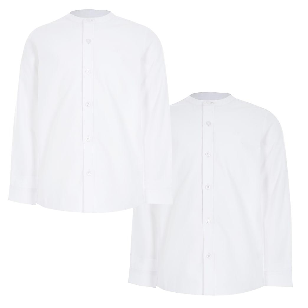 Witte overhemden zonder kraag van twillstof voor jongens set van 2
