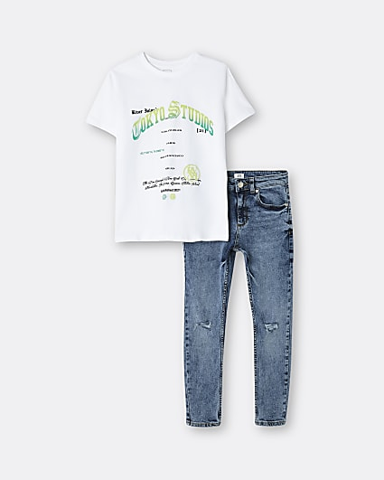 Boys white graphic t-shirt and jeans outfit