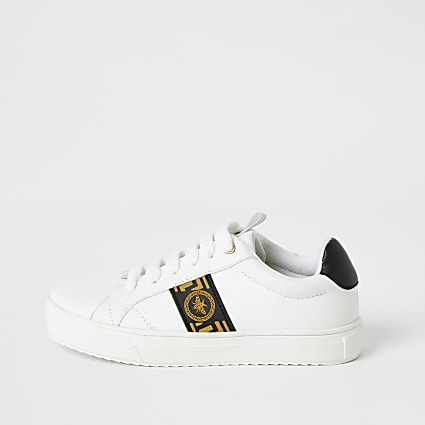 Boys white greek wasp lace-up trainers