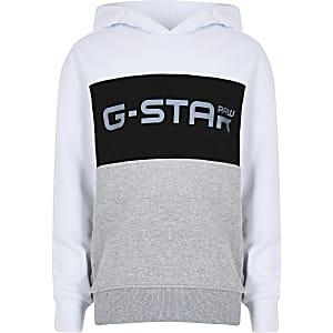 G-Star Raw - Witte hoodie met kleurvakken voor jongens