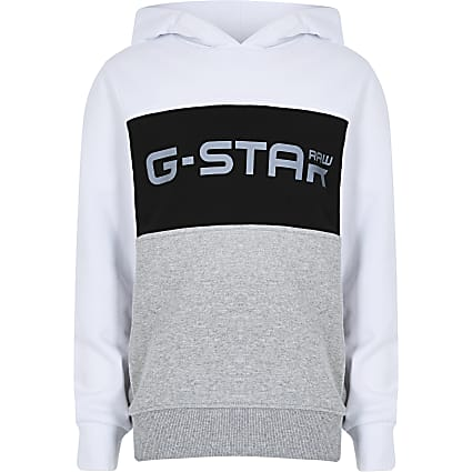 Boys white Gstar blocked hoody