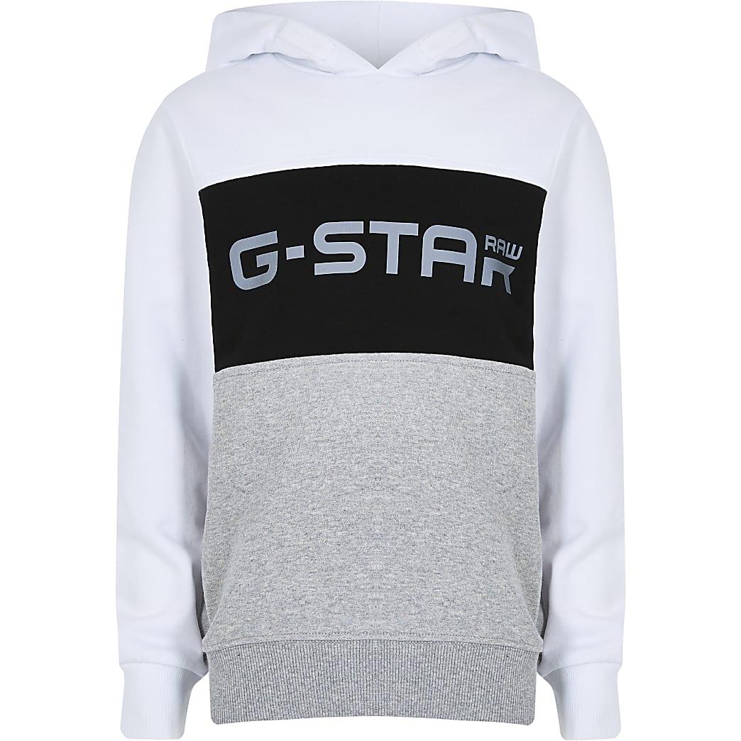 Boys white Gstar blocked hoody