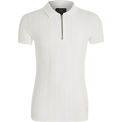 Boys white half zip knitted polo shirt