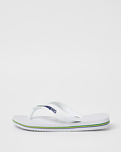 Boys white Havaianas flip flops