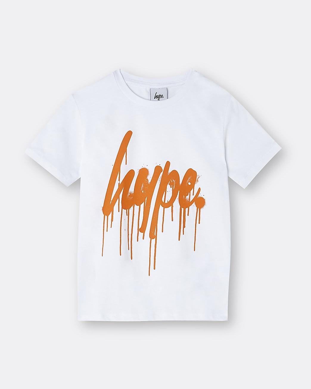 Boys white Hype drip print t-shirt
