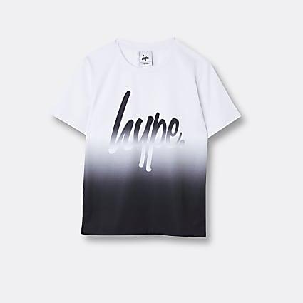 Boys white Hype fade design t-shirt