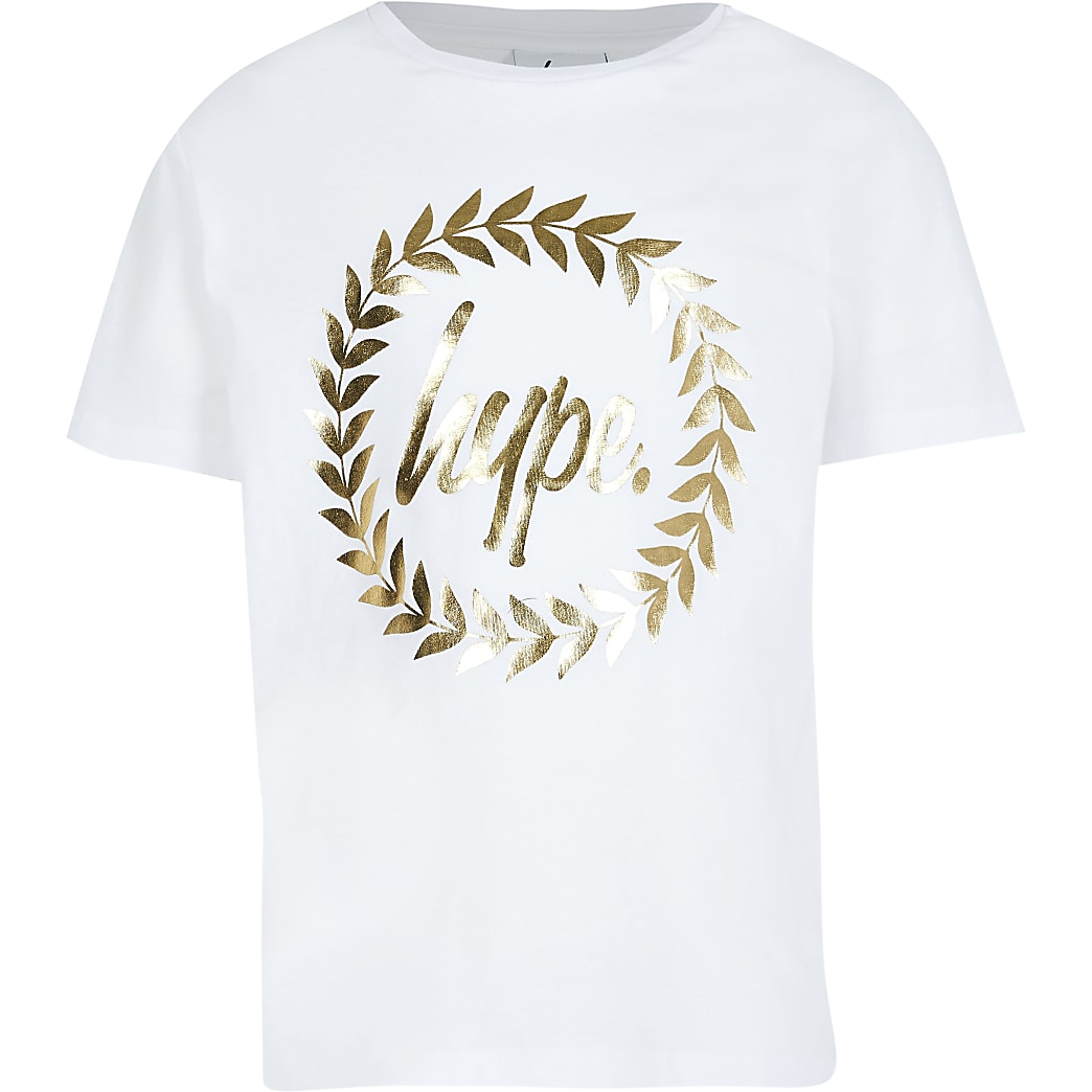 Boys white Hype gold print t-shirt